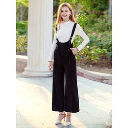 zipper overalls UK - 2018 early autumn new women's pants high waist locomotive straight wide leg pants casual wild strap trousers