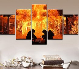 fire frame Australia - Modern Painting Abastract Wall Art Pictures Home Decor 5 Pieces Canvas Printed Warrior Fireman Fire Fighter Poster Frame