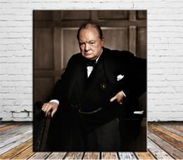 $enCountryForm.capitalKeyWord Australia - Handpainted & HD Printed Winston Churchill Portrait Art Oil Painting High Quality Canvas Home Wall Decor Multi Size p166