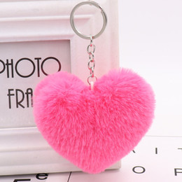 Heart Shaped Handbags Wholesale Australia - Cute Heart Pompom Keychain Fluffy Fur pompom Heart Shape Pompon faux Rabbit Fur Pom Poms Ball Car Handbag Key Ring Free shipping