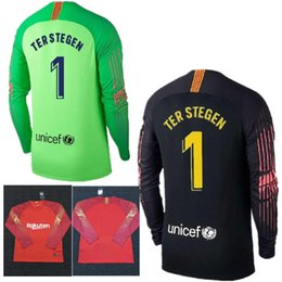 3ca488b41d8 2018 2019 Adults Long Sleeve Ter Stegen Goalkeeper Jersey Soccer Jerseys  Marc-Andre Ter Stegen Goalie Jersey Black Orange Football Shirt men