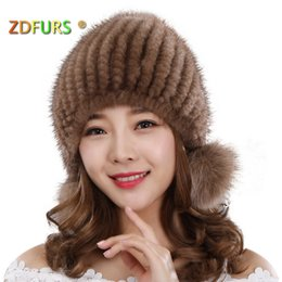 3471773111300 ZDFURS  Imported knitted hat real fur Hats winter cap warm thick Ear guard  Fox Three balls Mink skin knitting Hats