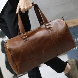 Brown Men Travel Bags Large Capacity Women Luggage Sports Duffle Totes Men s  Pu Leather Shoulder Handbag Big Barrel Trip Purse 38e6cab6dee86
