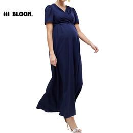 Fashion Office Maternity Nursing Dresses Dark Blue Evening Long Dress For Pregnant  Women Maternity Clothes Pregnancy Dresses 651864b55f01