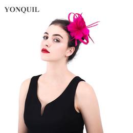 Hot pink elegant party fascinators hat womens wedding feather flower headbands  sinamay loops church hair accessories 2018 Vintage SYF403 e7795b5ea0c6