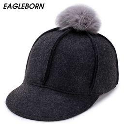 Black female BaseBall caps online shopping - Winter Baseball Cap Women With Fur  Ball Warm Winter 685bfba741eb