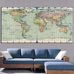 Art Canvas Prints Australia - 1 Piece Classic Vintage Earth World Map Painting Canvas HD Print On Canvas Art Poster Modern Wall Picture No Framed