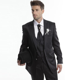 Wholesale 3piece suits for sale - Group buy Handsome New Men Suits Black Peaked Lapel Wedding Suits Bridegroom Groomsmen Custom Made Slim Fit Formal Tuxedos Piece Best Man Prom