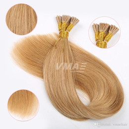 Brazilian Prebonded Hair Australia - I Tip Prebonded Hair Extensions 0.8g strand 100s Keratin Glue Stick Hair Brazilian Straight 80g Human VMAE Hair Natural Color Blonde