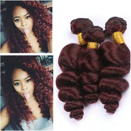 $enCountryForm.capitalKeyWord Australia - Loose Wave #99J Burgundy Red Virgin Chinese Human Hair Bundle Deals 3Pcs Loose Wavy Weave Extensions Wine Red Human Hair Bundles