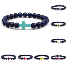 Reiki Healing Wholesalers Australia - Cross Bracelets Mens Women Yoga Chakra Beads Charms Bracelet Reiki Healing Meditation Energy Bangle Lapis Lazuli Natural Stone Bracelet