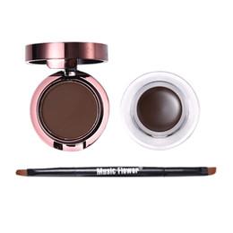 Gel Eyes Liner Australia - Music Flower Brand 2 In 1 Gel Eyeliner and Eyebrow Powder Makeup Palette Waterproof Brown Natural Eye Liner Cosmetics Set