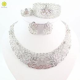 $enCountryForm.capitalKeyWord NZ - ewelry wedding dress Fine Jewelry Sets Fashion Wedding Accessories Women African Beads Crystal Silver Plated Necklace Earrings Set Dress ...