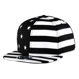 Baseball Cap Stripe UK - WuKe Embroidery Snapback, Baseball Hat Flat Brim Hip Hop Caps, White+Black Star-stripes