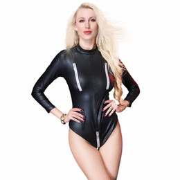 2018 New Faux Leather One Piece Body Suit Erotic Thong Leotard High Cut  Bodysuit Catsuit Zipper Open Crotch Bust Clubwear XXL 326654dd4