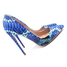 Free Shipping women lady woman 2019 sexy blue python snake leather Poined  Toes Wedding heels Stiletto High Heels shoes pumps boots 12cm 10cm 17afbac80