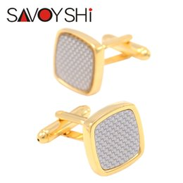 $enCountryForm.capitalKeyWord NZ - SAVOYSHI Low-key Luxury Carbon Fiber Cufflinks for Mens Shirt Cuff Bottons Square Gold-color Cufflinks Wedding Brand Men Jewelry