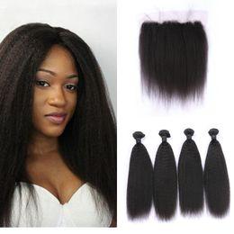 brazilian kinky hair closure bundle 2019 - 4pcs Virgin Brazilian Kinky Straight Hair Bundles With Frontal Lace Closure Natural Black 100% Human Hair Extensions che