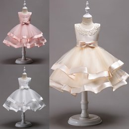 Chinese  Lovely Knee Length Beaded Tiered Flower Girl Dresses Tulle Kids Pageant Dresses With Bow Knot First Communion Dresses MC1490 manufacturers