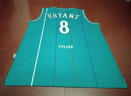 Discount basketball authentic jersey - Men Vintage GREEN #8 Kobe Bryant AUTHENTIC Size S-XXL college jersey or custom any name or number jersey