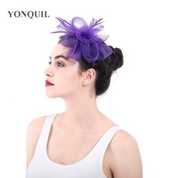 d4c89bb204cab Top quality purple crinoline fascinators hats flower hair accessories for  wedding church Party Kentucky derby ascot races SYF354