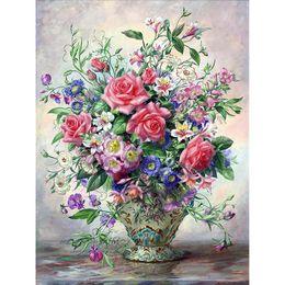 Discount diy diamond painting roses - New Diamond embroidery rose flower vase 5d diy diamond painting Cross Stitch full circular drill Rhinestone mosaic home