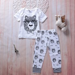 aa77ce61c11 Animals Baby Boy Outfits Clothes Kids Clothing Bear Tops+Long Pants 2PCS Set  Cute Boutique Goods Black White Cotton Kid Boys set 0-3T