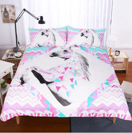 Wholesale 3D Unicorn Bedding Sets Duvet Covers for Twin King Size Bed Europe Style Bedding Duvet Cover Sheets Pillow Shams Cover PXF