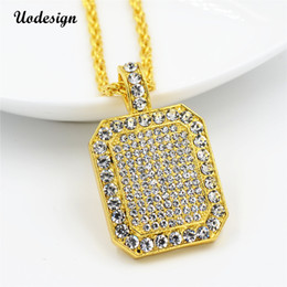 mens gold chain circle NZ - Uodesign Mens Full Iced Out Rhinestone Gold Color Square Dog Tag Pendant Cuba Chain Hip Hop Blingbling Necklace