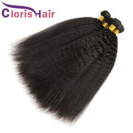 human hair weaves for cheap 2019 - Raw Indian Hair Kinky Straight 3 Bundles 100% Human Hair Indian Yaki Straight Hair Weaves Cheap Weft Italian Coarse Yaki