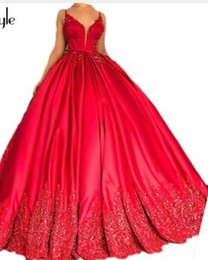 Heavy Red Evening Gowns NZ - SoAyle Luxurious Prom Dresses 2018 Heavy Beaded Prom Dress Red Ball Gown Evening dresses Sleeveless vestido longo Long Dress