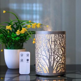 oil warmers 2019 - New Iron Hollow Forest Air Humidifier Home Bedroom Warm Light Aroma Diffuser 100ML Ultrasonic Mute Essential Oil Diffuse