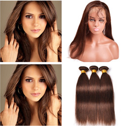 ChoColate hair weave 16 inCh online shopping - Medium Brown Virgin Hair Weave with Frontal Straight Chocolate Brown Human Hair Bundles with Full Lace Closure x4x2