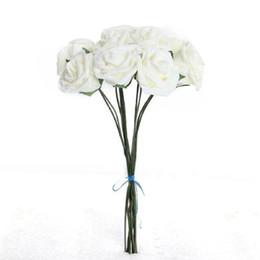 Foam Rose Heads White UK - Wholesale- 10Pcs lot 7cm Head PE Rose Foam Flower Bouquet Creamy White Artificial Rose Flowers decoracion para bodas