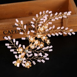 Crystal Plastic Hair Clip Australia - Pearls Flowers Beading Hair Clips for Girls Gold Barrettes Wedding Hair Accessories Leaves Sharp Bridal Jewelry