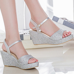 9a967451bd45 Womens female summer style elgant silver gold glitter bling peep toe wedges  high heels sandals lady sandal plus size 42 43 F8
