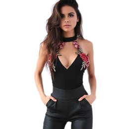 Embroidered Jumpsuits NZ - 2017 bodysuit women Clubwear Lovely Embroidered Halter Playsuit Bodycon Party Jumpsuit rompers womens jumpsuit combinaison #5