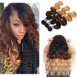$enCountryForm.capitalKeyWord Australia - Three Tone Ombre Brazilian Virgin Human Hair Extensions 1B 4# 27# 3 Tone Ombre Brown Blonde Body Wave Human Hair Weave Bundles