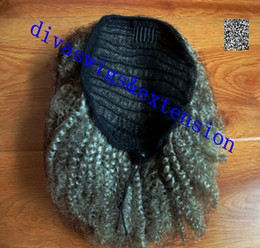 Curly Human Hair For Weaves Canada - Real hair grey hair weave ponytail 4c afro kinky curly clip in gray human drawstring pony tail hair extension for black women 120g
