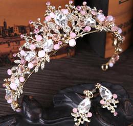 Pink heart stick online shopping - New bride headwear Pink Crystal Crown Princess Bride crown wedding accessories