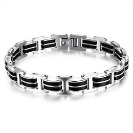 $enCountryForm.capitalKeyWord UK - Silver Black Color Fashion Simple Men's Silicone Bangle Stainless Steel Bracelet Watchband Jewelry Gift for Men Boys 830