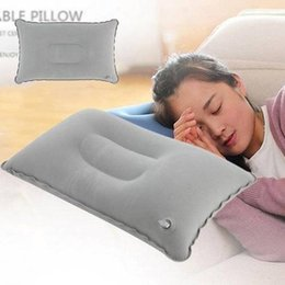 Plane Travel Pillow NZ - Portable Fold Outdoor Travel Sleep Pillow Air Inflatable Cushion Break Rest Bedding Supplies Pillow Double Sided Flocking Traveling Plane