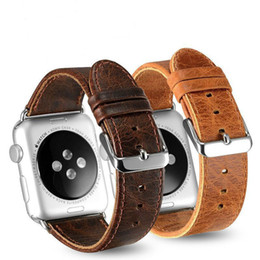 Chinese  Newest Crazy Horse Pattern Genuine Leather Band For 42mm 38mm Apple Watch 4 3 2 1 Luxury Business Style iwatch Strap 40mm 44mm manufacturers