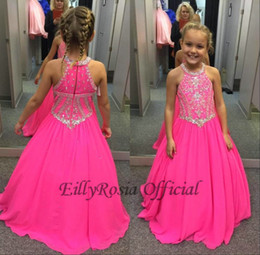 kids girl evening dress Canada - 2018 Fuchsia Little Girls Pageant Dresses Maxi Beaded Crystals Sequined Lovely A Line Kids Party Evening Gowns for Weddings Custom Made
