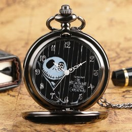 nightmare before christmas gifts NZ - Vintage Tim Burton's The Nightmare Before Christmas Pocket Watch Necklace Black Dial Hollow Flower Quartz Movement Clock Gifts