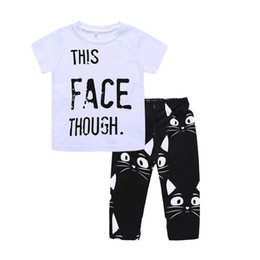 neck face clothing 2019 - 2018 new boys summer letters outfits 2pc set letters printing short sleeve T shirt+cat face pants 1-5T kids summer cloth