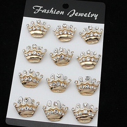 Men Suit Pins NZ - New hot Fashion Crystal Crown pins small collar Women men 's suit brooches christmas pins free shipping