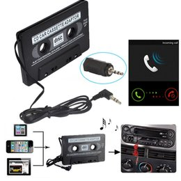 Discount cassette mp3 player car adapter Audio Car Cassette Tape Adapter Converter Travel Audio Music Converter Adaptor 3.5mm for iPod for iPhone Smartphone MP3