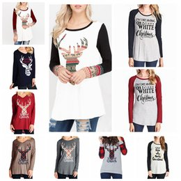 4f2e2ecd9a81c2 Long sLeeve tunic tops styLes online shopping - Christmas Letter Printed T  shirts Women Styles Long