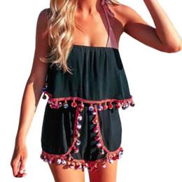81a0d7af5481 Summer New Bohemia Jumpsuits Short Romper Women Off Shoulder Tassel Boho  Beach Playsuits Sexy Backless Beachwear Plus Size GV204